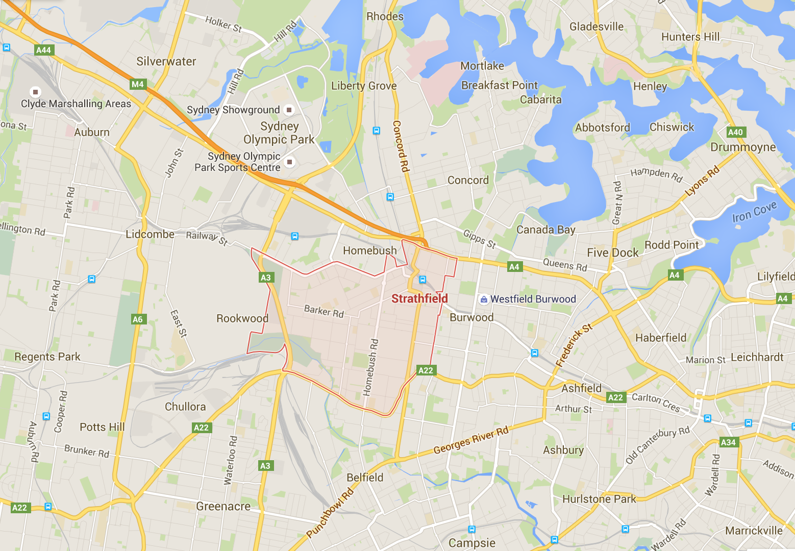 Strathfield mowing services - Google map