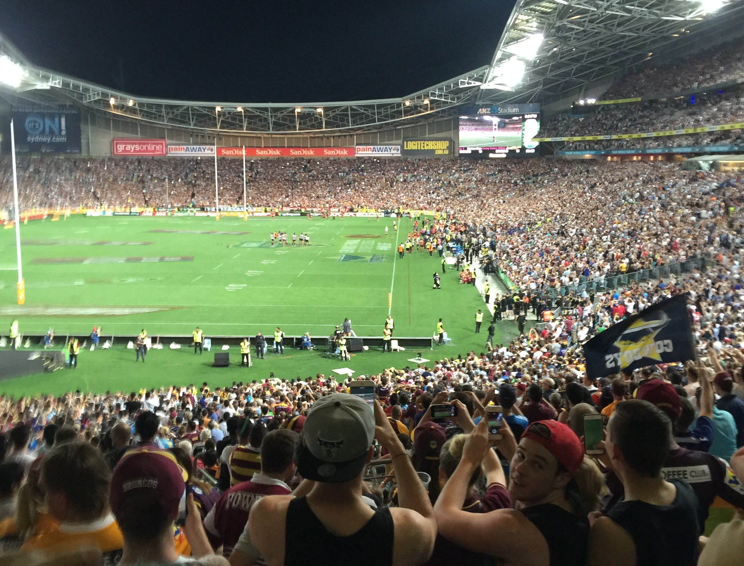 """""""Hey GreenSocks, did you mow this lawn?"""" says Mark Cantoni from Outbound at the NRL Grand Final"""