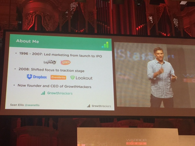 Slides from Sean Ellis (GrowthHackers) at Warrior Forum Sydney 2015 © GreenSocks