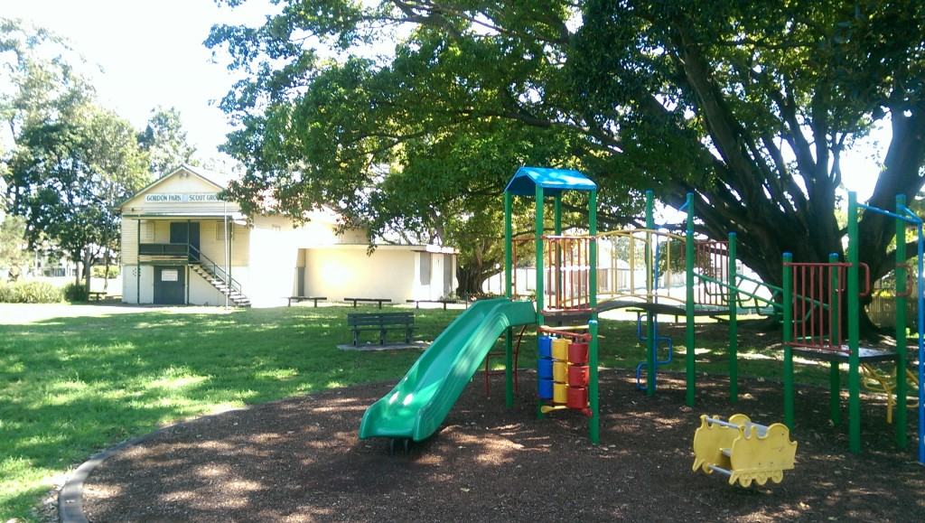 Amelia Park's playground has a beautiful shady playground for you and your children to enjoy together © GreenSocks