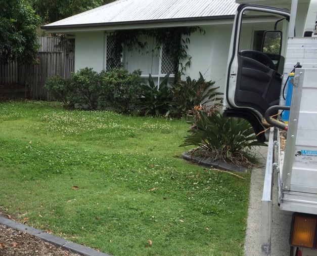 """Before"" photo of lawn mowing in Coomera © GreenSocks"